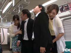 Horny japanese babes Chika and Minori gets fucked hard on a train