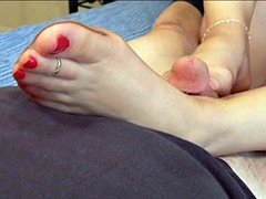 Daisy Footjob With Tan Pantyhose And Toerings