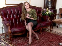 Honour May in vintage corset sheer black nylons designer heels stripping and wanking for you