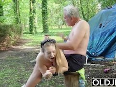 Steamy blonde desires to get it on in various positions with this lovely stud with a stiff pecker in the wild