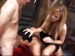 Female domination mistress humilated her a couple of bi-curious slaves
