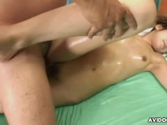 She grinds on the cock and the sex toy