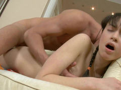 Moaning teen chick in cute pigtails loves his big dick