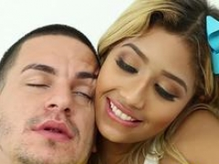 This blonde ebony beauty taking care of her lover and also getting fucked in different poses in pov