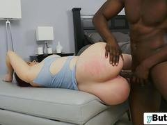 Busty chick sucks big black schlong rough shaved