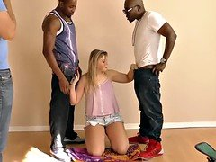 Melissa May fucks black dudes in front of her dad