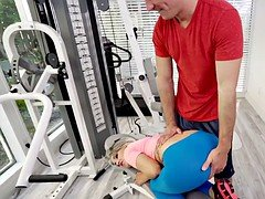 Blonde spinner banged in home gym