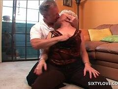 Sexy mature teasing pussy with red vibrator