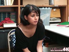 Teen shoplifter Penelope Reed deppthroated and fucked hard inside the office