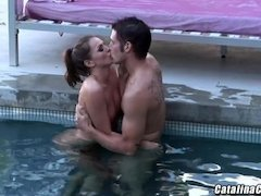 Tori Black making love poolside with co-worker