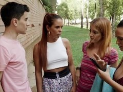 Naughty young voyeur used by three ladies that catch him spying