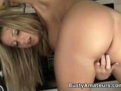 Busty amateur Sammy getting naughty in the kitchen