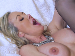 Fit milf stockings model boned by a big cock younger man