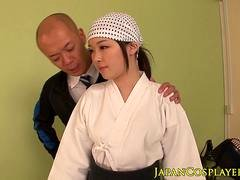 Japanese cosplay babe cocksucking sensei