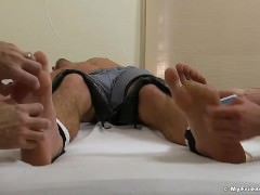 Muscular Sergey feet and armpits tickled