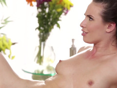 Pretty babe with pigtails loves to do dirty things after massage
