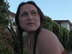 Euro girlfriend is into public flashing and masturbating