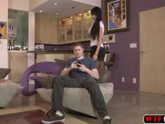 Brunettee hot MILF Eva Karera rides her stepson hard prick in the couch