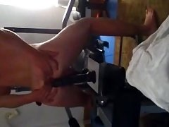 Kinky lad rides big toy in his Gym