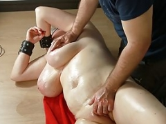 Breasty servant love hole fingered by her master