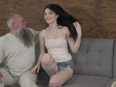 Angel face and grey-haired old man make crazy love