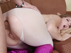 A brunette that has large tits is getting a dick up her wet ass
