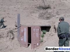 Slim Latina slut getting fucked hard on the border by an agent