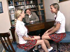 Slutty Schoolgirls Seduce Principal