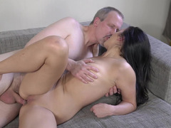 Old man fucks his stiff dick into a cute college girl