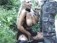 Pierced Blonde Mom Gets A Cumshot on face Outdoors