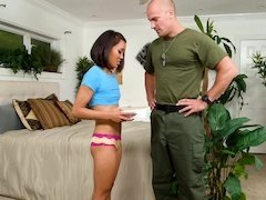 Strong man returned from army and owned teen petite babe