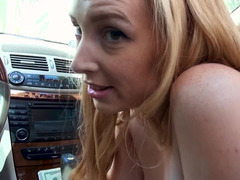 Blonde ride sharing cutie gives her driver a good blowjob
