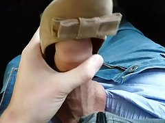 Cum in another pair of shoes of colleague at work