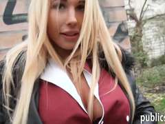 Real amateur blonde Czech babe flashes her big tits for cash