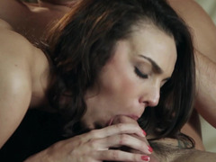 A babe with big boots is getting fucked in her wet meaty pussy