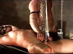 Bondage CBT 2 studs testicle stretching