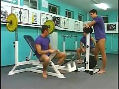 Gay trio in a gym