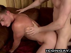 Athletic Brent bends over for an ass fuck with blonde Rob