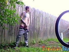 Hot tattooed Blinx enjoying a nice jerk off session outdoors