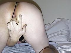 Ass dildo and finger