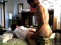 Bent Over His Wifes Bed