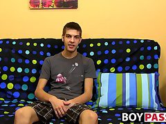 Cute brunette Max Morgan interview then jerking session