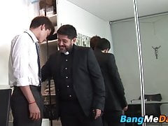Hung daddy thrusts fat prick in tight hairy twink asshole