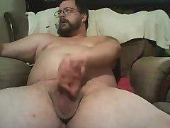 Fat dad jerking off