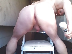 Joey D with CURVY butt shoving anal toy deep