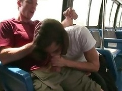 Hungry hunk blows off purple pole on public bus