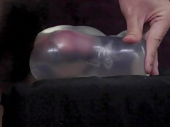 cum inside clear pussy toy side view with pulsating
