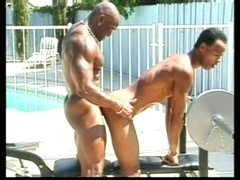Muscular black gay makes his buddy suck and ride his prick outdoors