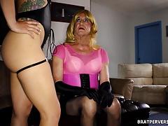 Sissy Crossdresser Sucking Cock for her Pimp