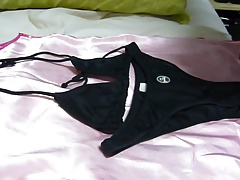 Cum on bikini lycra black